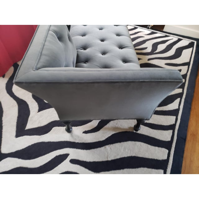 Gray Tufted Love Seat Settee by Cisco Home For Sale - Image 4 of 13