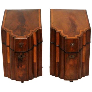 George III Wood Knife Boxes - a Pair