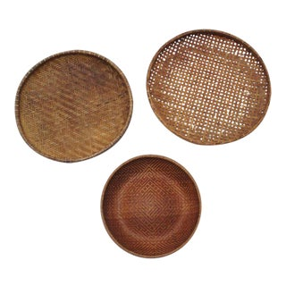 Round Winnowing Baskets- Set of 3 For Sale