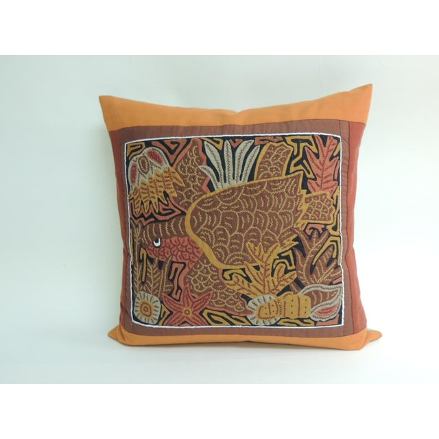 1980s Tropical Sea Turtle Embroidery Decorative Pillow For Sale - Image 5 of 5