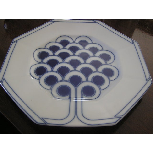 Dating to 1978, this is a beautiful, vintage dessert plate set by Fitz & Floyd, featuring a cobalt blue pattern known as...
