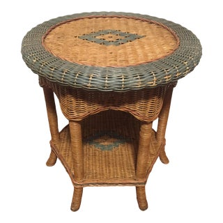 Palecek Round Wicker Occasional Side Table For Sale
