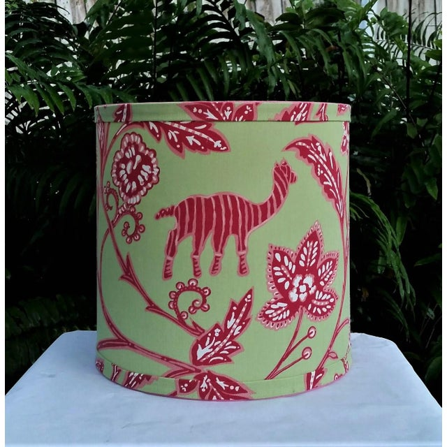 Thibaut Fabric Lampshade Green Hot Pink Tropical For Sale - Image 10 of 10