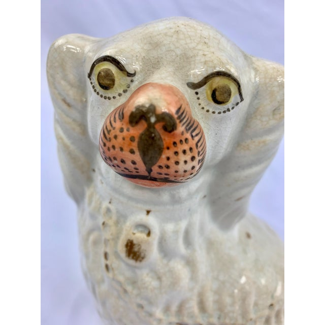 Ceramic Antique Staffordshire Spaniel Dog Figurine With Lock and Chain Detail For Sale - Image 7 of 8
