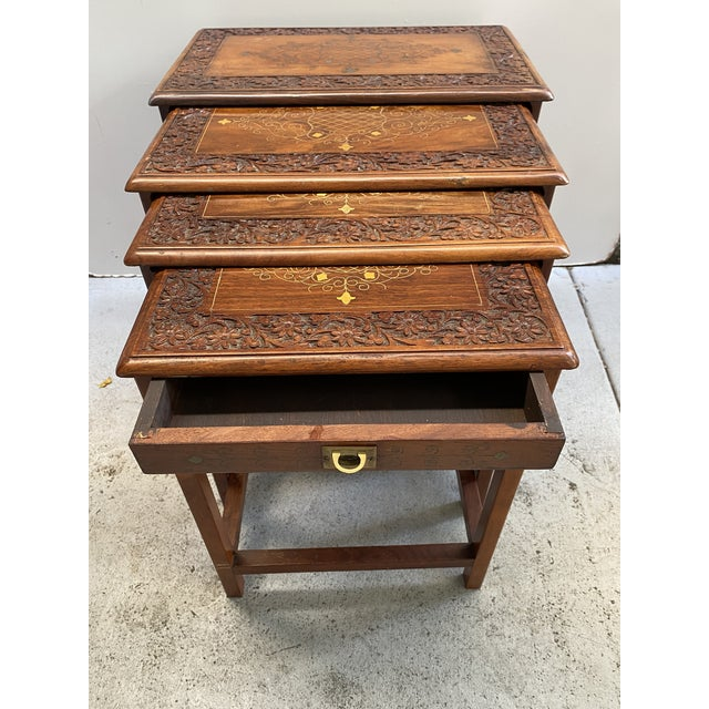Mediterranean 1960s Asian Stacking/Nesting Tables - Set of 4 For Sale - Image 3 of 10