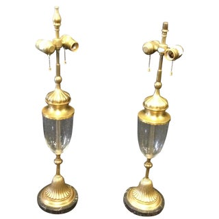 Tall Vintage Brass Marble Bubble Glass Lamps - a Pair For Sale