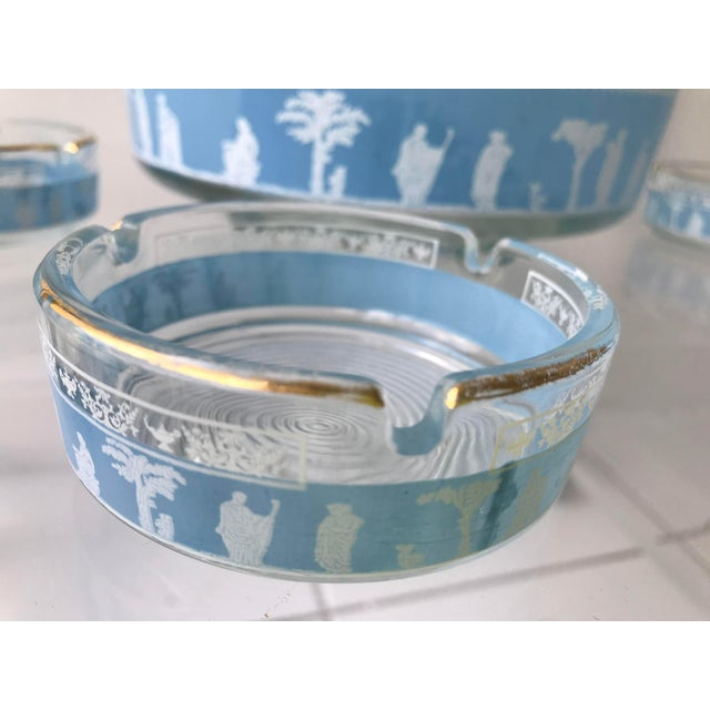 Wedgwood 1970s Mid Century Blue Jeannette Wedgwood Glass Hellenic Party Set - Set of 6 For Sale - Image 4 of 5