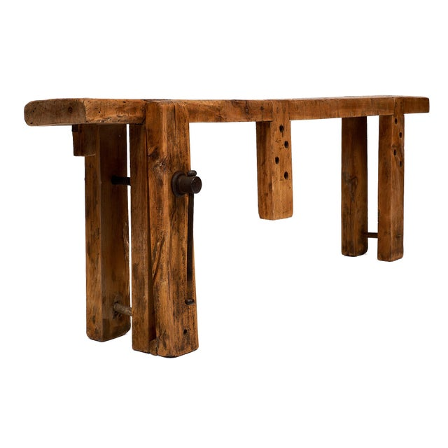 French antique, authentic 19th century workbench of chestnut wood with a traditional construction used by French Craftsmen...
