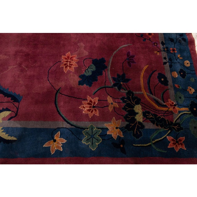 Early 20th Century Antique Art Deco Chinese Wool Rug For Sale - Image 9 of 13