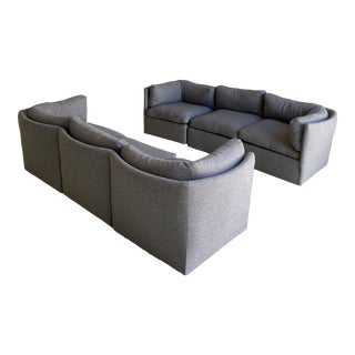 Milo Baughman Scalloped Back Modular Sectional Sofas - A Pair For Sale