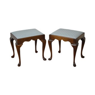 Madison Square Solid Mahogany Queen Anne Benches - A Pair For Sale
