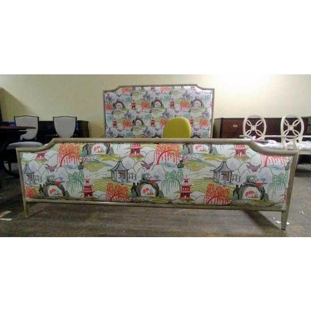 Contemporary Henredon Furniture Quartz Grey Catherine King Upholstered Bedframe For Sale In Charlotte - Image 6 of 11
