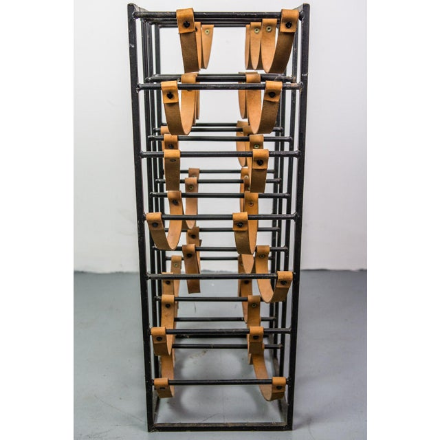 Pair of Iron and Leather Wine Racks by Arthur Umanoff, 1950s For Sale - Image 9 of 9