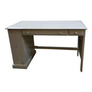 Antique Industrial White Desk For Sale
