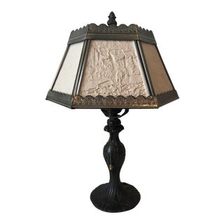 Antique Asian Tin Shade Bronze Table Lamp For Sale
