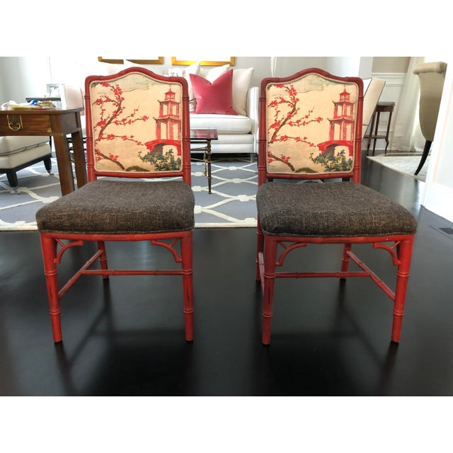Chinoiserie Faux Bamboo Style Chairs- a Pair For Sale - Image 9 of 9
