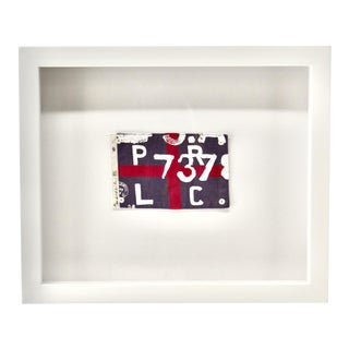 Vintage Ralph Lauren 'PRCL 737' Red and Bue Framed Flag For Sale