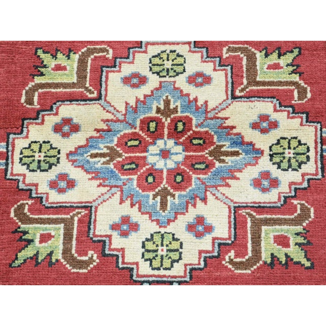 Red Hand-Knotted Pure Wool Geometric Design Red Kazak Rug- 5′ × 6′3″ For Sale - Image 8 of 12