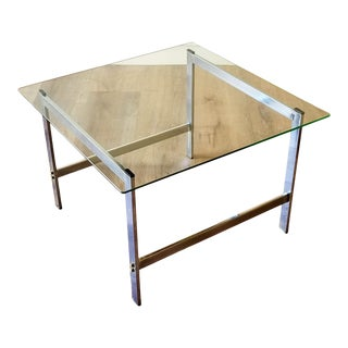 1970s Chrome and Glass Square Side Table For Sale