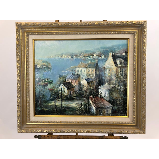 1980s Oil on Canvas of Port Landscape by Lucien Delarue For Sale - Image 5 of 5