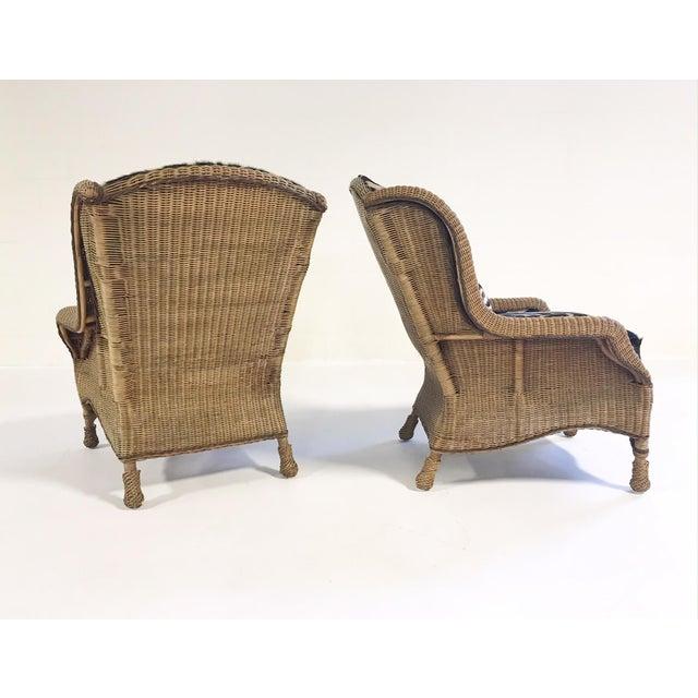 Vintage Ralph Lauren Wicker Wingback Chairs Restored in Zebra Hide - Pair For Sale In Saint Louis - Image 6 of 12