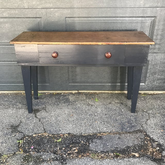 Primitive Navy & Butcher Block Top Console / Island For Sale - Image 10 of 10