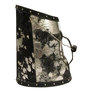 Silver Modern Metallic Faux Pony Coal Bucket For Sale