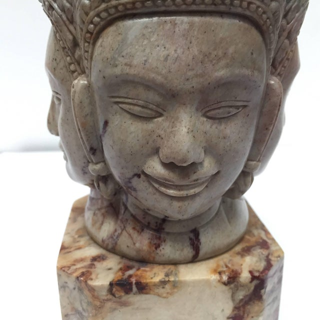 Anglo-Indian Soapstone Hand-Carved Bust of Brahma With Four Faces For Sale - Image 3 of 13