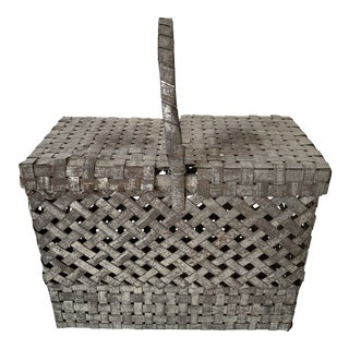 Woven Metal Square Basket For Sale