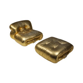 Soriana Lounge Chair in Gold by Afra & Tobia Scarpa For Sale