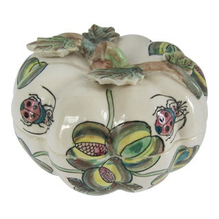 Vintage Chinoiserie Porcelain Pumpkin From Charles Willis Atlanta For Sale