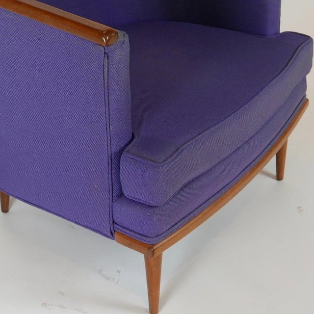 Pair of Milo Baughman Barrel Back Lounge Chairs With Walnut Detail For Sale - Image 10 of 13