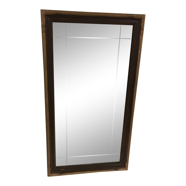 Vintage Art Deco Etched Glass Mirror With Gilded Edge Frame For Sale