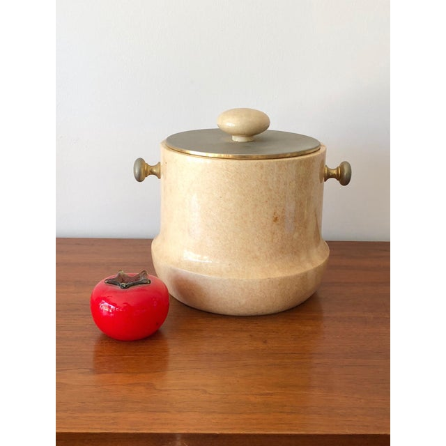 Tan Aldo Tura Ice Bucket in Goatskin For Sale - Image 8 of 9
