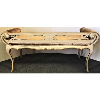 Vintage French Empire Carved Wood Bench Preview