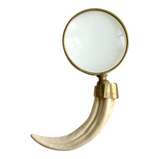 Vintage Brass and Horn Magnifying Glass For Sale