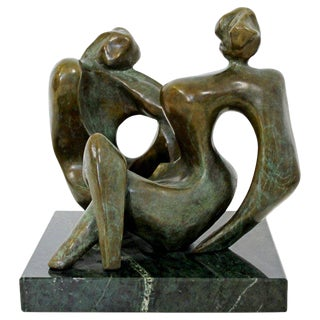 """Prologue"" Contemporary Bronze Table Sculpture of Women by Jean Jacques Porret, 2/8 For Sale"