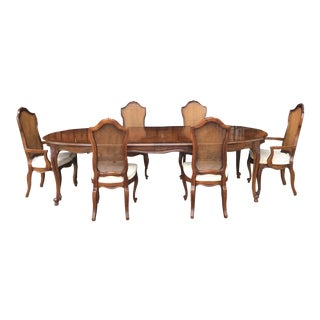 1970s Vintage Drexel Heritage Dining Table With Dining Chairs- 7 Pieces For Sale