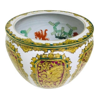 Vintage Andrea by Sadek Chinoiserie Fish Bowl Ceramic Floor Planter Cachepot For Sale
