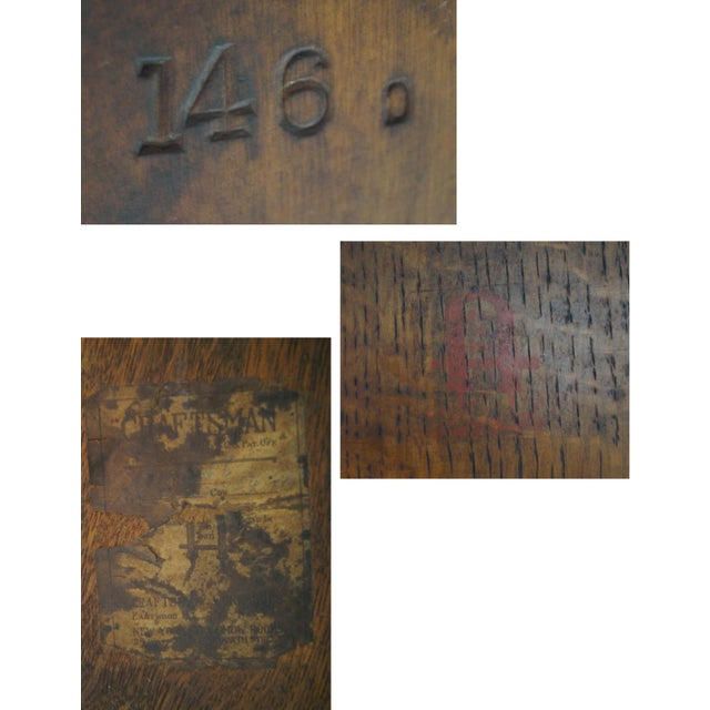 Antique Gustav Stickley Round Mission Oak Dining Table & 6 Leaves For Sale - Image 9 of 10