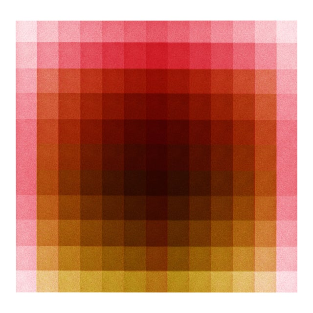 """Color Space Series 37: Hot Pink, Acid Green Print, by Jessica Poundstone 20"""" X 20"""" For Sale"""