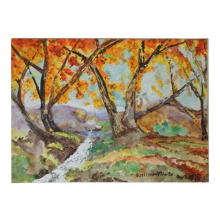 Original Vintage Autumn Landscape Watercolor Painting For Sale