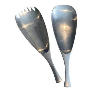 Vintage Dansk Quistgaard Odin Germany Stainless Serving Salad Spoon Fork Set - a Set of 2 For Sale