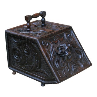 19th Century Antique English Renaissance Coal Hod Scuttle Hearth Fireplace Tin Liner For Sale