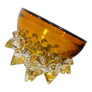 Contemporary Signed Yellow Spiked Glass Art Bowl by Andrew Madvin Dated 2000s For Sale