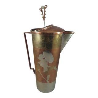1940s Art Deco Mixed Metals Brass Cocktail Shaker