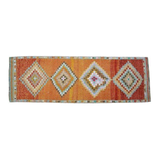 Hand-Knotted Turkish Runner Rug. Low Pile Herki Short Runner 3′3″ × 10′ For Sale