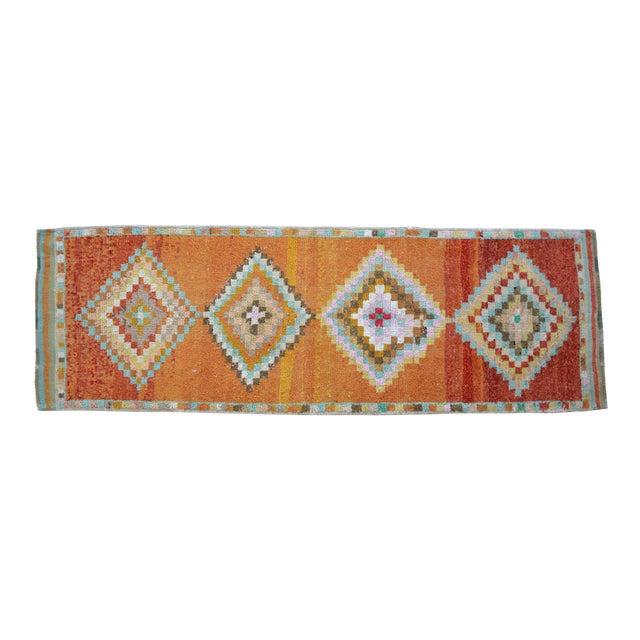Hand-Knotted Turkish Runner Rug. Low Pile Herki Short Runner 3′3″ × 10′ For Sale