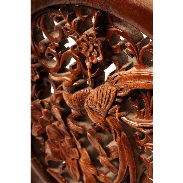 Vintage Chinese square fretwork panel in brown elm wood with intricately detailed carved bird motif. Would be spectacular...