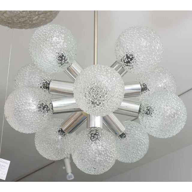 Polished Chrome and Bubble Glass Chandelier Modified Space-Age Style For Sale In West Palm - Image 6 of 11
